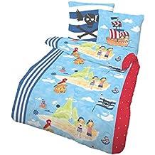 Ropa de cama infantil (135x 200cm y almohada de 80x 80cm 2piezas., träumschön Marca Ropa de cama Ropa de cama de franela de algodón 100%, edredón de Isla Pirata Fein fabricado en Alemania.