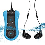 AGPTEK S12E 8GB Swimming Mp3 Player IPX8 Waterproof Music Player with Waterproof Headphones,Blue