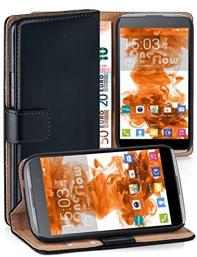 moex® Cover a Libretto Compatibile con Alcatel OneTouch Idol 3 4 7 |  Fessura Carta + Soldi, Supporto, Nero