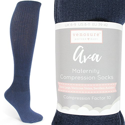 Venosure® 'Ava' CLASSIC Compression Socks for Women, Graduated Fit for Pregnancy Maternity High Knee High Stockings - Twin Pack