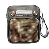 Superfreak Tasche Radio Umhängetasche Radiotasche groß & hoch, Farbe: Grau - Drehregler gold