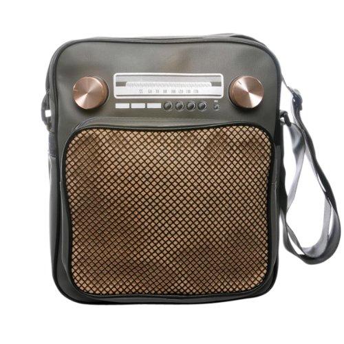 """Superfreak® Tasche """"Radio"""" Umhängetasche Radiotasche groß & hoch, alle Farben!!! Grau – Drehregler gold"""