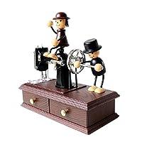BestOfferBuy Caja Musical de Madera en Forma de Máquina de Coser con Dos Adorables Niños