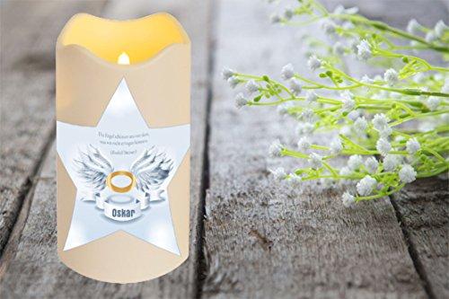 LED VELA plástico Temporizador Sensor de luz 18CM INTERIOR + Exterior INTERMITENTE Llama Vela Memorial DÍA DE LA MUERTE individualizada personal con nombre (motivo 2)