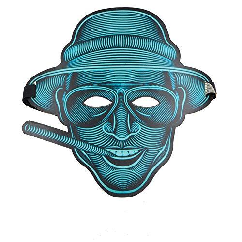 Ilymj maschera flash ad attivazione vocale illuminata per adulti maschera led fluorescente di halloween horror night party party, fumosa maschere
