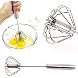 Generic White : Kitchen Stainless Steel Semiautomatic Rotation Manually Push Whisk Kitchen Whisk Stainless Steel