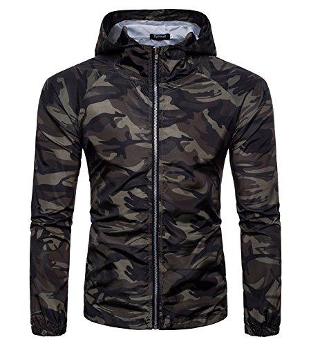 Felpa con cappuccio uomo hooded sweatshirt manica lunga hoodie cappotto giacca pullover felpe top outwear verde scuro l