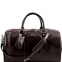 Tuscany Leather - TL Voyager - Travel leather duffle bag - Large size Dark Brown - TL141217/5