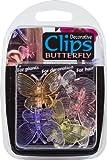Dekorative Schmetterlings-Pflanzenclips aus Kunststoff - farblich sortiert (6er-Packung)