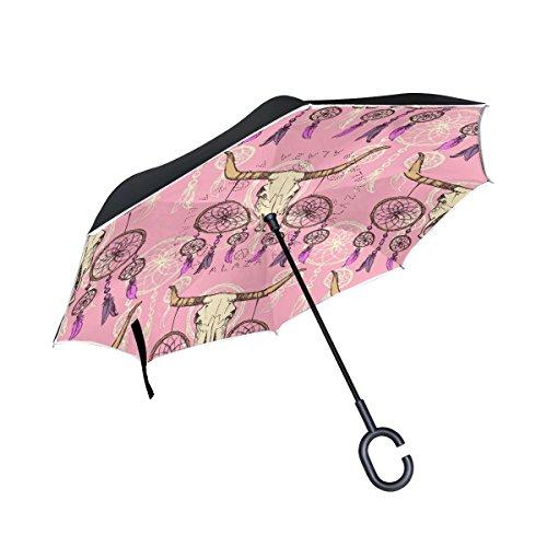 COOSUN Boceto Longhorn y la capa atrapasueños doble del paraguas invertido inversa para el coche y el uso al aire libre a prueba de viento impermeable lluvia protección UV paraguas grande recta con