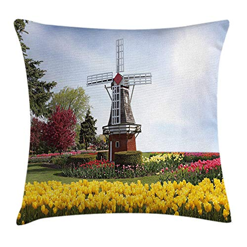 BUZRL Windmill Decor Throw Pillow Cushion Cover, Serene Vast Traditional Garden with Blossoming Flowers Trees Dutch Tulips, Decorative Square Accent Pillow Case, 18 X 18 inches, Multicolor