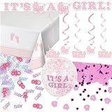 59-teiliges Dekoset * BABY GIRL * für eine Baby-Party // mit Tischdecke + Deko-Hänger + Girlande + Konfetti + Luftballons + Luftschlangen // Dekoration Shower Mädchen Nachwuchs Kind Eltern