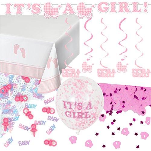 (59-teiliges Dekoset * BABY GIRL * für eine Baby-Party // mit Tischdecke + Deko-Hänger + Girlande + Konfetti + Luftballons + Luftschlangen // Dekoration Shower Mädchen Nachwuchs Kind Eltern)