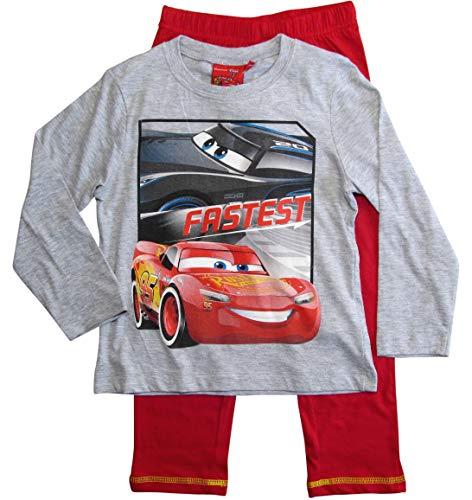 Cars Disney 3 Schlafanzug Jungen Lang Lightning McQueen (Grau-Rot, 122-128)