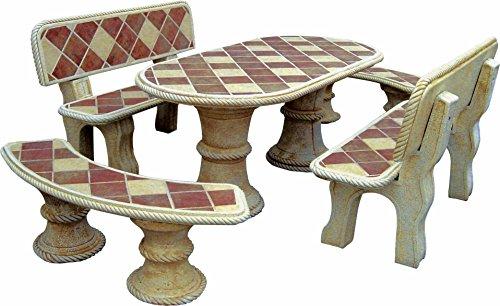 AnaParra In Stein-Set Tisch oval 194cm. Mit Fliesen Mod. Sauce