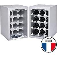 Talous Buon Vino Lot de 2 Étagères à vins-2 Casiers range porte bouteilles empilables en polystyrène-35x 29,5x 50cm-pour 24bouteilles