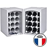 Talous BuonVino Weinregal - 2er Set Flaschenregal stapelbar Styropor 24 Flaschen - Flaschenkiste isolierend 35x29,5x50 cm