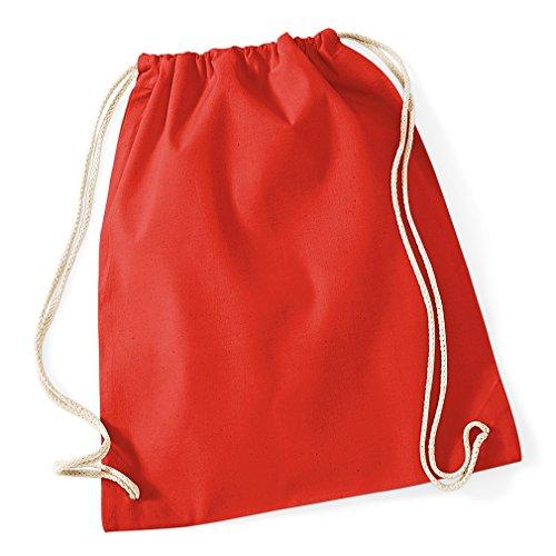 Gymsac / Turnbeutel aus Baumwolle 9 Farben im 3er, 6er und 12-Set, Größe:46 x 36 cm, Bright Red, 12 Stück - Neun Stück Set