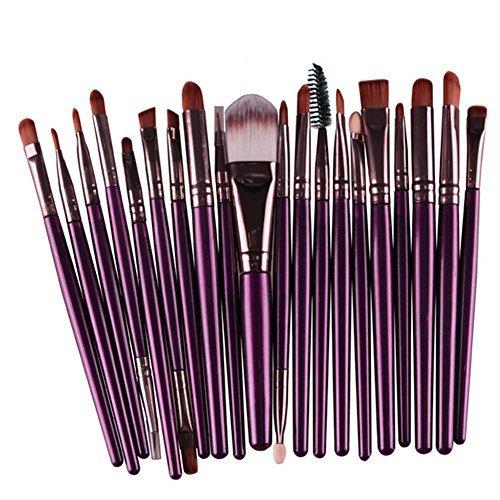 Outflower 20 Branches Violet et Café Pinceau de Maquillage Les Yeux Brosse Ombre à Paupières Un Ensemble de Pinceaux Cosmétiques