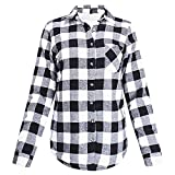 CICIYONER Damen Karo Plus Blusenjacke,Frauen Winter Flanell Plaid Button Top mit Plüschfutter warmen Mantel