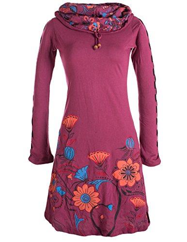 Vishes - Alternative Bekleidung - Langärmliges Blumenkleid aus Baumwolle mit Kapuzenschalkragen dunkelrot 48