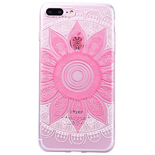 Yokata iPhone 7 Plus Hülle Transparent Weich Silikon Gel Crystal Clear TPU Case Handyhülle Schutzhülle Durchsichtig Ultra Slim Anti-Scratch Backcover Schale Silicone Bumper Protective Cover für iPhone Rosa Mandala