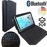 Deutsche Bluetooth Tastatur Hülle für Sony Xperia Tablet Z2 SGP512 Tablet 10 Zoll (25.6 cm) - Kabellos Bluetooth - Leder Tasche mit LED Tasten - elegantes Design - Schwarz LT2