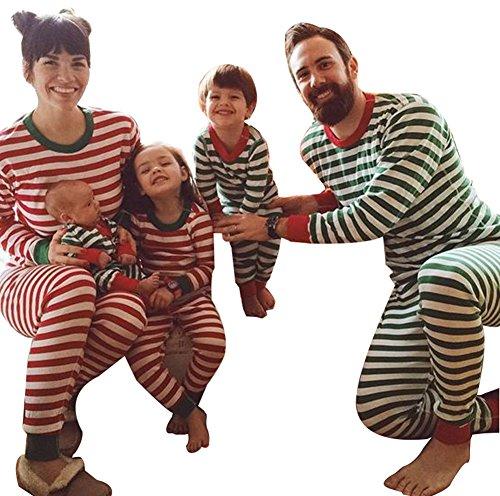 LvRao Weich Bequem Family Weihnachten Schlafanzüge für Familie Gestreift Pyjama für Eltern und Kleinkinder (Rot #Mama, CN M)