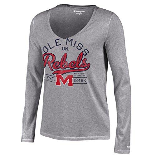 Life Womens Cap Sleeve T-shirt (Champion NCAA Damen Universität Lange Sleeve V-Neck T-Shirt, Damen, NCAA Women's University Long Sleeve V-Neck T-Shirt, grau, Medium)