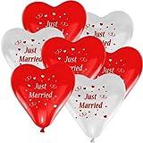 10 Herz Luftballons Ø 30 cm mit Motiv Just Married Farbe frei wählbar Herzballons Helium Luftballon (Rot/Weiß)