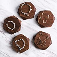 BanST Walnut 5pcs Wood Jewelry Tray Hoop Earring Display Ring Holders Necklace Bracelet Stands Accessory Risers Block Set Home Deco Closet Show【Walnut Hexagon 5pcs 12.5x12.5cm】