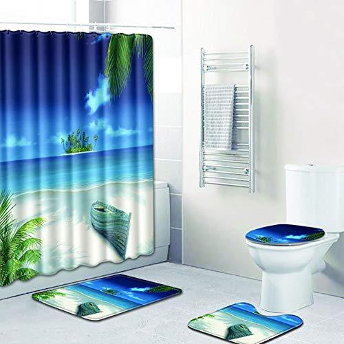 TRDT 4-Teilige Badematten Badvorhang-Set Stück - Badematte + Teppichboden WC-Sitzbezug + Duschvorhang + 12 Haken,C -