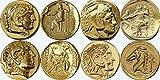 4 famose monete di Alessandro Magno, collezione di dei e dee greche, numero di riferimento del prodotto: ALEXSET4-G