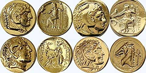 Alexander the Great, 4 coins, Posthumous, Lysimachos, Siculo-Punic Tetradrachms