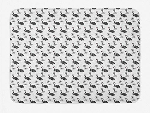 YnimioHOB Swans Badematte, Repetitive Black Gracious Wasservögel mit Lotus und Water Lillies Print, Plüsch Badezimmer Dekor Matte mit Rutschfester Rückseite, Coral Charcoal Grey