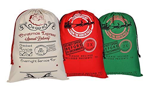 3 PIEZAS Bolsa lona Santa Saco Navidad regalos Bolsa