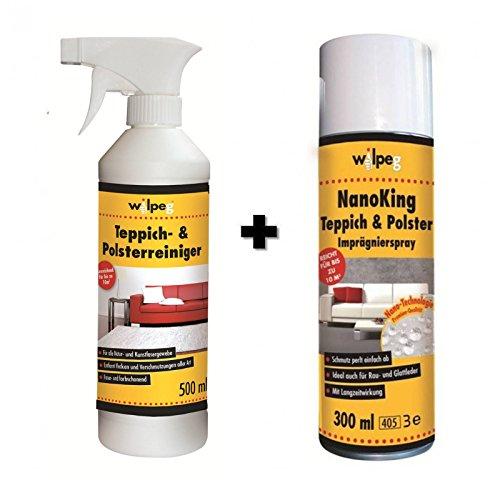 WILPEG Reinigung & Imprägnier-Set für Teppich & Polster - Imprägnierung + Reiniger -