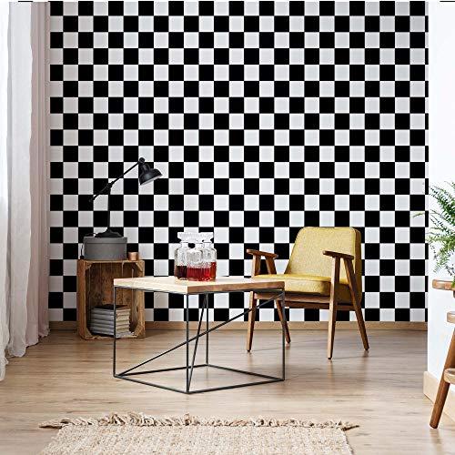 Schwarz Und Weiß Gedruckt (Schwarz-Weiß Karierte Muster Vlies Fototapete Fotomural - Wandbild - Tapete - 104cm x 70.5cm / 1 Teilig - Gedrückt auf 130gsm Vlies - 11207VEM - Muster)