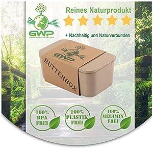 Green World Production Butterdose mit Deckel aus Reishülse für 250 g Butter...