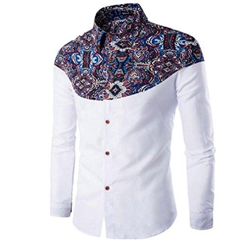 Rcool Männer bedrucktes Baumwoll-Langarm-T-Shirt Weiß