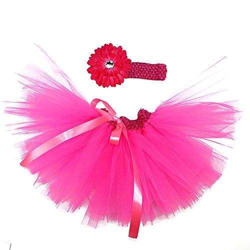 Kostüm Rocker Barbie (Honeystore Baby Fotoshooting Kostüm Haarbänder Rock Set Foto Outfit Stirnbänder Farbenfroh Tütü Balletrock Mini Unterrock Fotografie Verkleidung One Size Fuchsie mit)