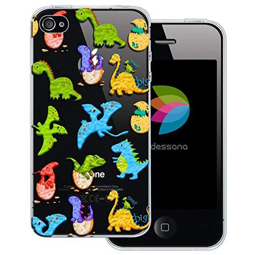 dessana Comic Tier Pattern transparente Schutzhülle Handy Case Cover Tasche für Apple iPhone 4/4S Dino Aufkleber (I Phone 4s Schutzhüllen Für Männer)