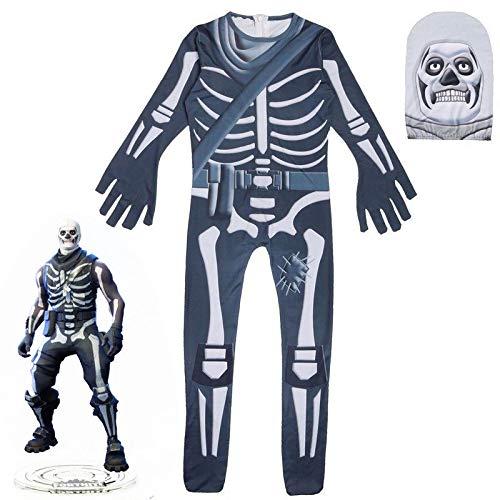 Schädel Trooper Haut Dekoration Jungen Charakter Clown Cosplay Kleidung Halloween Schädel Kostüm Kinder Spandex Zentai Adult Bodysuit (Color 2, 130)
