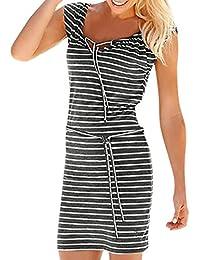 Damen Kurzarm Gestrickt Streifen Farbblock Sommer Lange Kleid Taschen S 2XL Pop