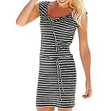 VEMOW Elegante Damen Mode Frauen Sommer Boho Streifen Lange Maxi Kleid Casual Daily Holiday Abendgesellschaft Strandkleid (Grau, EU-36/CN-S)