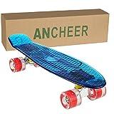 Ancheer Mini-Cruiser-Skateboard 55cm Skateboard mit oder ohne LED Deck,alle mit LED Leuchtrollen,Farbe:Deck in Blau ohne LED / Rollen in Rot mit LED