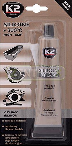 ZentimeX - Tubo di silicone sigillante per le alte temperature, adatto alle superfici di casa, come forno, fornelli, ripiani; per le parti dei veicoli, come coppa dell'olio, motore, cambio, ventola, pompe e per caldaia, climatizzatore, deumidificatore, 85 g, +350°C, colore: nero