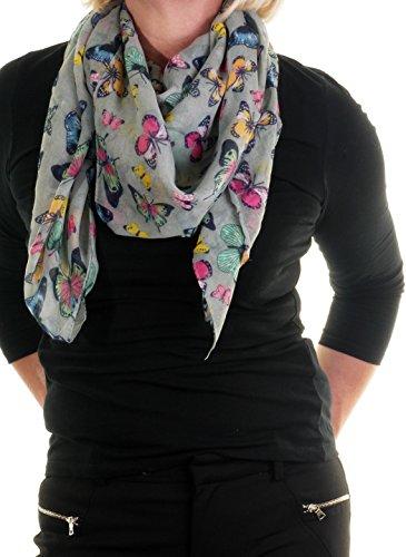 Femme Taille L Motif Papillon multicolore petite Écharpe en mousseline de soie Col ou en Sarong Gris