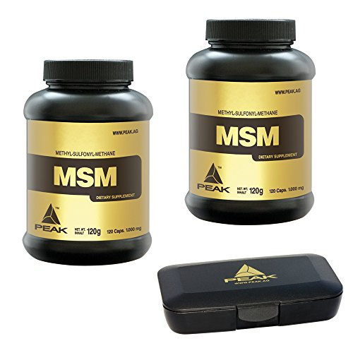 Peak MSM Caps, 240 Kapseln, 2er Pack (2 x 120 g = 240 g) + Pillendose