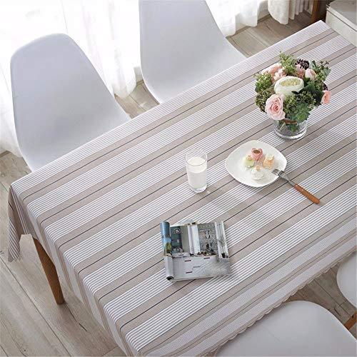 Tischtuch/Küche PVC-Tischtuch/Wasserdichtes Rechteckiges Schwarz-Weiß Gestreiftes Tischtuch/Couch Tischtuch, Schwarz, 138 * 220Cm ()